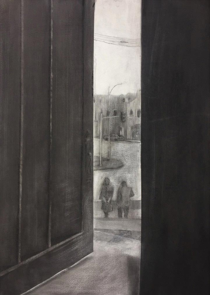 A drawing of two people walking outside as seen through an open door