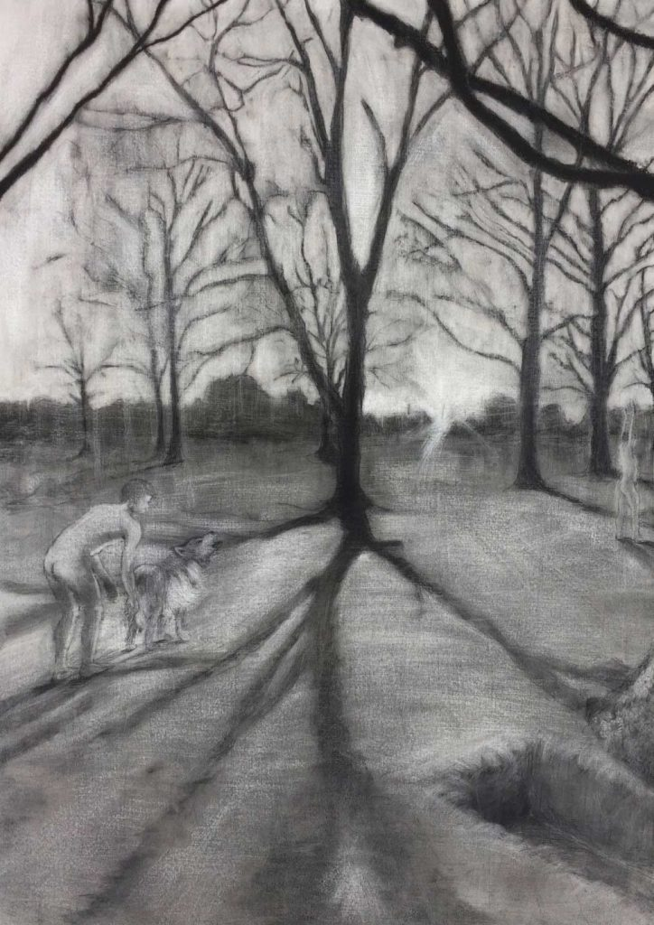 Drawing of a nude man and dog among trees
