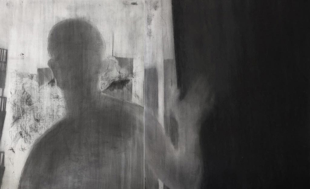 Drawing of a blurry man with his hand on a door