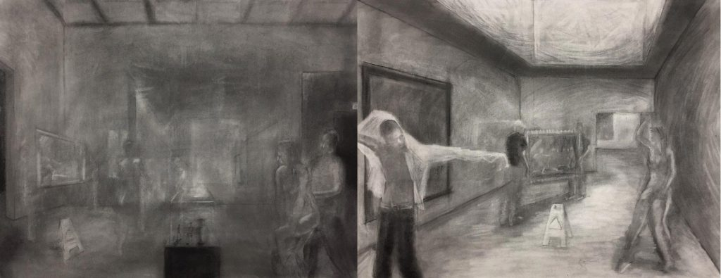 A diptych of drawings, showing people in a gallery space